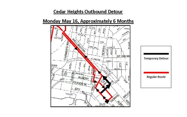Cedar Heights Outbound Bus Detour
