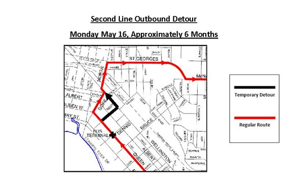 Second Line Outbound Bus Detour